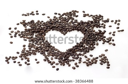 Love for coffee - heart of coffee beans - stock photo