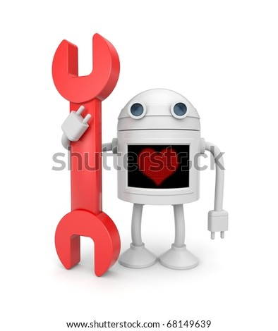 Love for work. Robot worker - stock photo