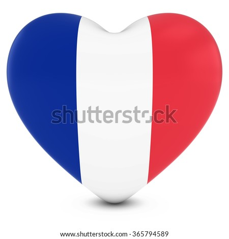 Love France Concept Image - Heart textured with French Flag - stock photo