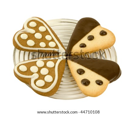 love gift-heart cookies on a plate! - stock photo