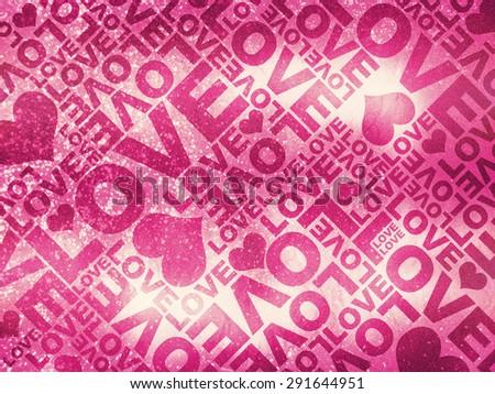 Love glitter Valentine's day typographic texture - stock photo