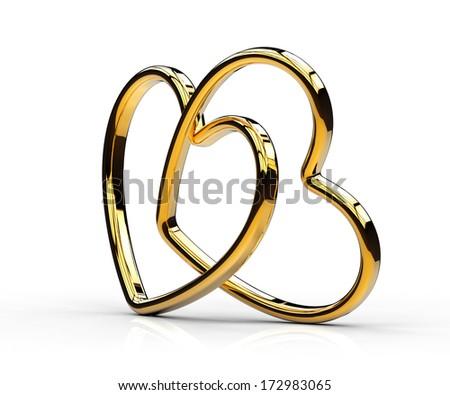 Love gold hearts - stock photo