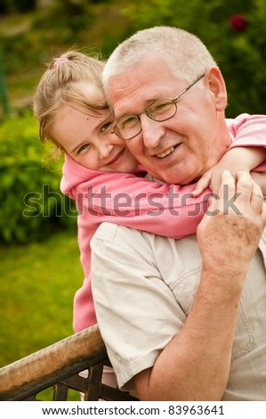 Love - grandparent with grandchild portrait - stock photo