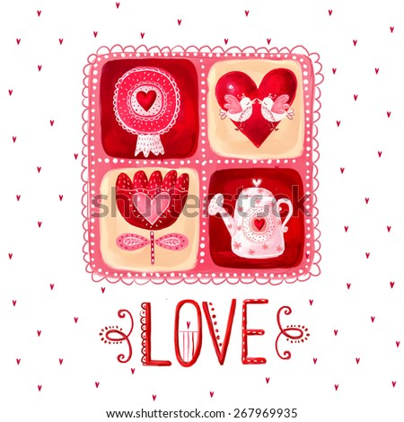 Love greeting card. Design element.Save the date background. Vintage background. Valentine background.Love heart design. Valentine day card. I love You card. Love poster - stock photo
