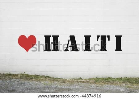 Love Haiti Graffiti on Wall - stock photo