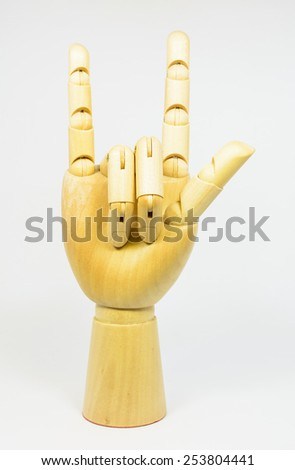 Love hand sign isolated on white - stock photo