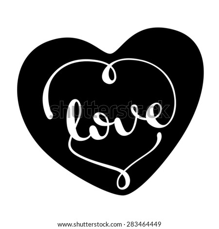 Love handwritten typographic poster, handmade calligraphy, lettering,  background - stock photo