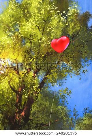 love heart balloon,digital painting - stock photo