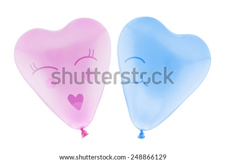 Love heart balloon man and woman isolated on white background with clipping path - stock photo