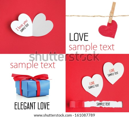 love Heart card paper romantic style clothespin rope - stock photo