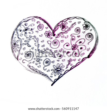 Love heart card pencil drawing sketch heart icon isolated over white background