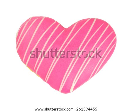 Love heart donut isolated on white background - stock photo