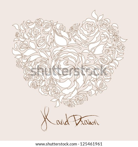 love heart flowers background - JPG VERSION