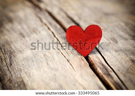 Love. Heart for love. Heart and Love. Valentines day heart for love. Red heart on old wood, for love.   - stock photo