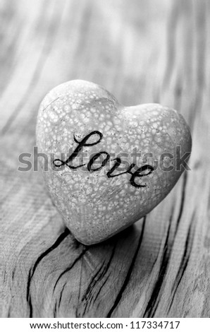 Love Heart For On Wood Background With Text