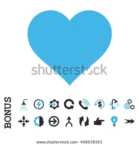 Love Heart glyph bicolor icon. Image style is a flat iconic symbol, blue and gray colors, white background.