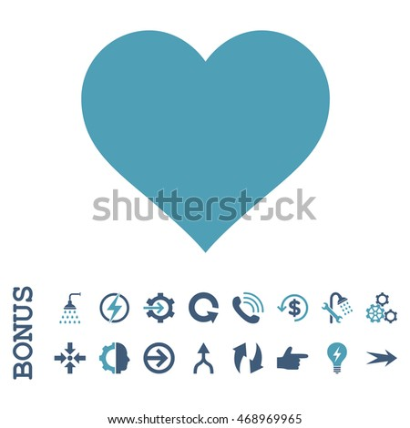 Love Heart glyph bicolor icon. Image style is a flat pictogram symbol, cyan and blue colors, white background.