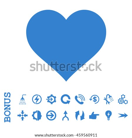 Love Heart glyph icon. Image style is a flat pictogram symbol, cobalt color, white background.