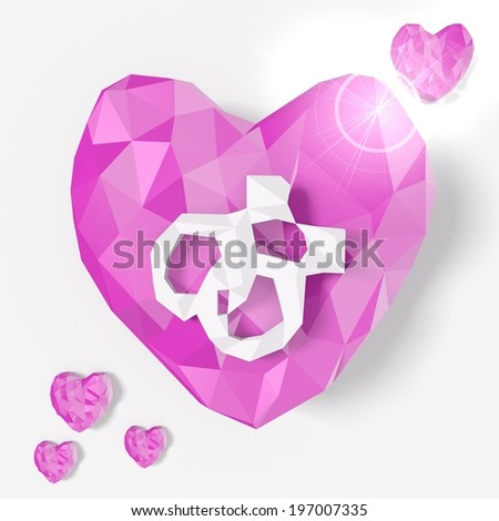 love heart homosexual design in low poly 3d style for romantic illustrations isolated on white background
