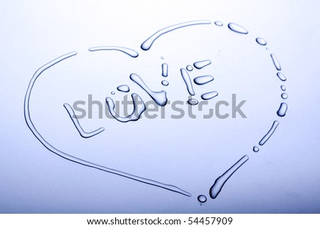 Love heart made by water bubbles - stock photo