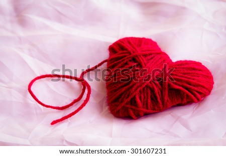 Love heart on fabric,still life ,love concept - stock photo