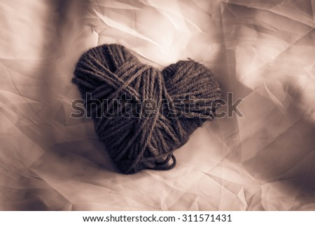 Love heart on fabric,still life ,love concept ,vintage filter effects - stock photo