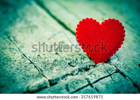 Love heart on wooden texture background, valentines day - stock photo