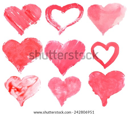 Love heart paint watercolour  - stock photo