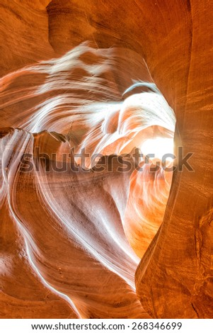 love heart shape Antelope Canyon view with light rays - stock photo