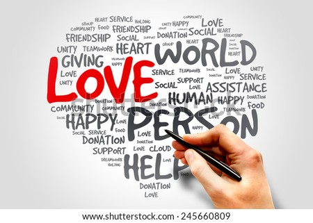 Love heart words cloud concept - stock photo