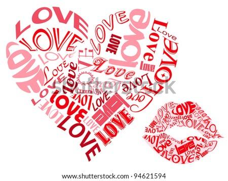 LOVE/Hearts and Kisses - stock photo