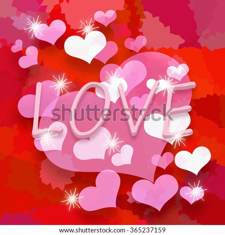 Love hearts background - stock photo
