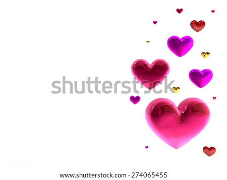 Love hearts decoration pink red multicolor. Romantic happy joy relationship.  Valentines Day greeting card concept. Detailed 3d render. Isolated on white background - stock photo
