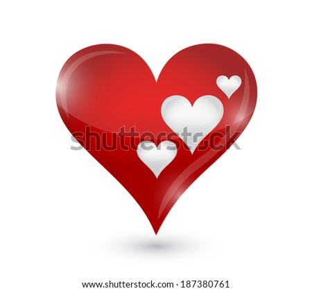 love hearts illustration design over a white background - stock photo