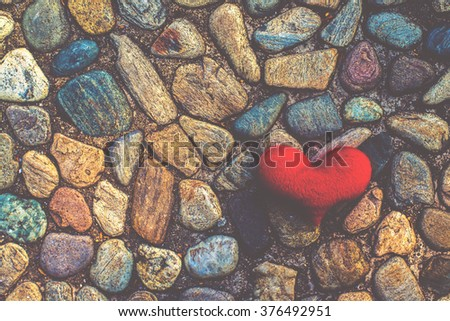 Love hearts on Rock texture background, valentines day card concept - stock photo