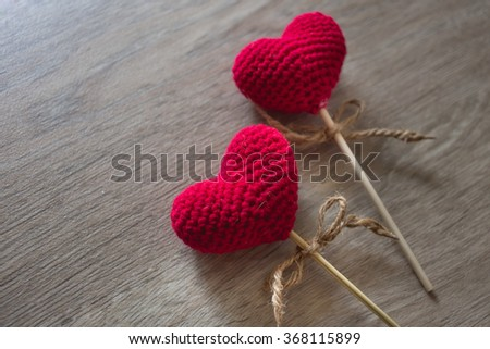 Love hearts on wooden texture background, valentines day  concept - stock photo