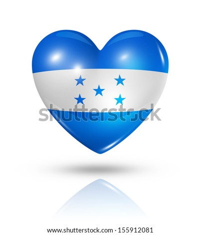 Love Honduras symbol. 3D heart flag icon isolated on white with clipping path - stock photo
