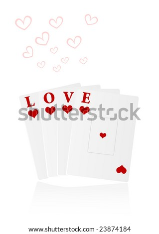 Love illustration with playing cards