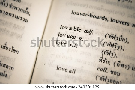love in dictionary