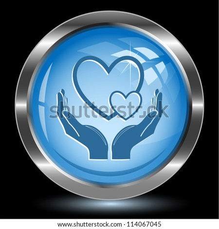 love in hands. Internet button. Raster illustration. - stock photo