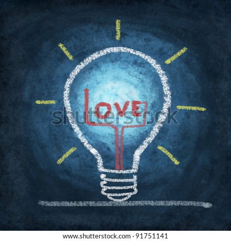 love in light bulb drawing by chalk
