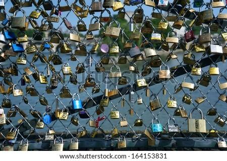 Love in Paris, Locked In - stock photo