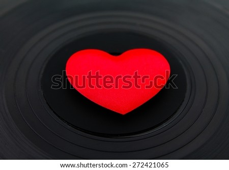 Love in the center of vinyl - stock photo