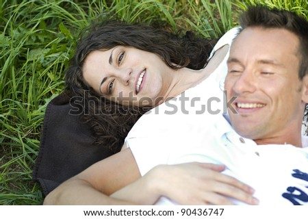 Love in the grass - stock photo