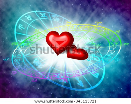 love in the horoscope concept. - stock photo