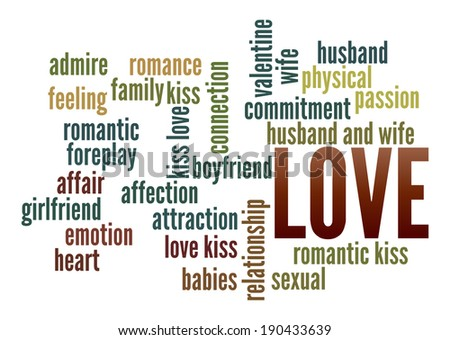 Love  in word collage - stock photo
