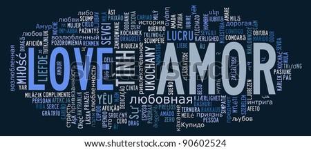 Love info-text cloud various language and arrangement - stock photo