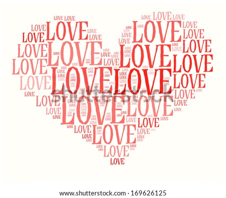 Love info-text graphic and arrangement concept on white background (word cloud)  - stock photo