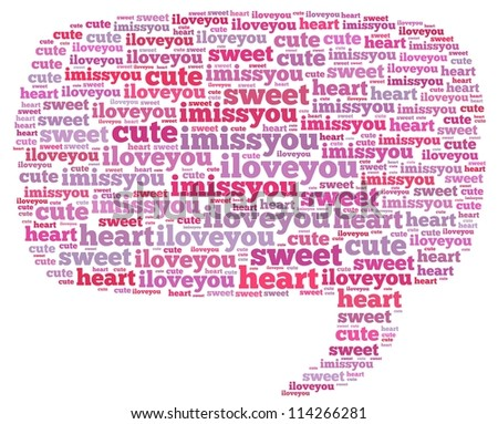 love info-text graphics and arrangement concept on white background (word cloud) - stock photo