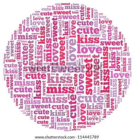 love info-text graphics and arrangement concept on white background (word cloud)